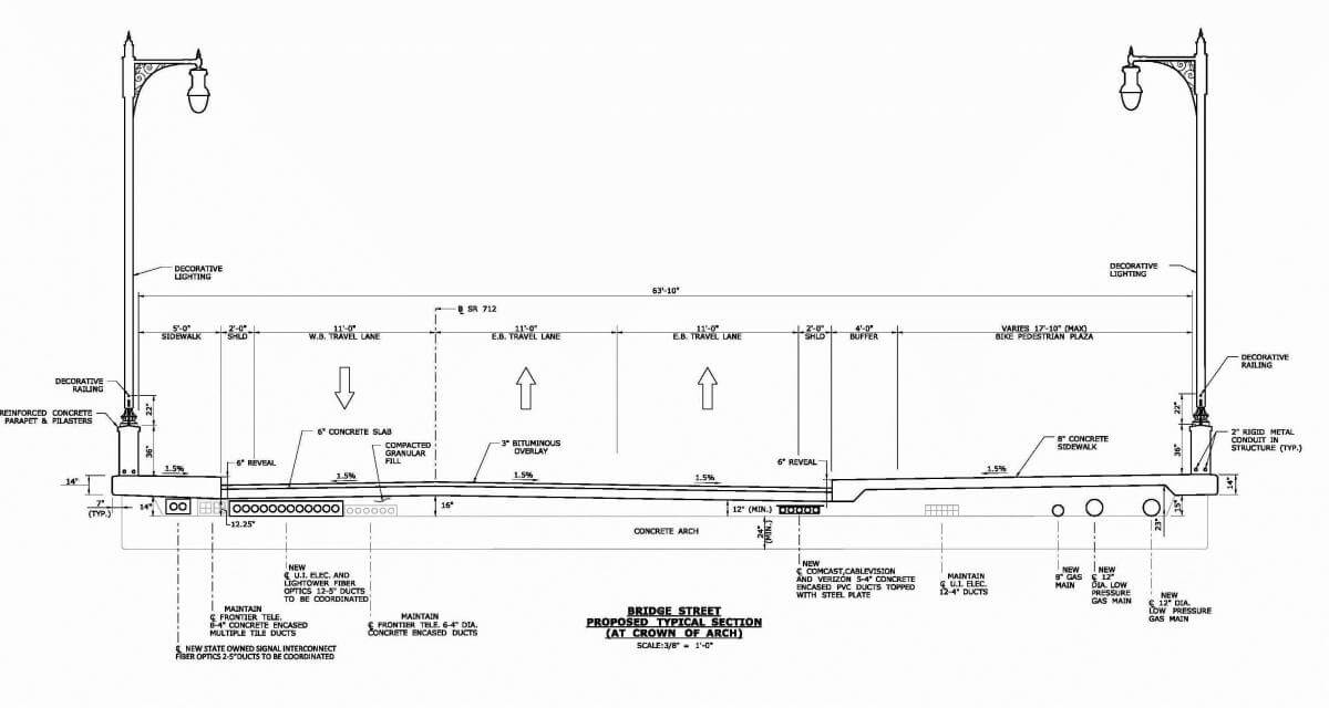 Cross section blue print for Bridge Street