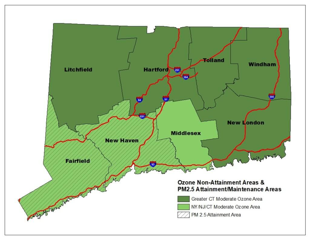 Map of Connecticut Ozone Non-Attainment Areas