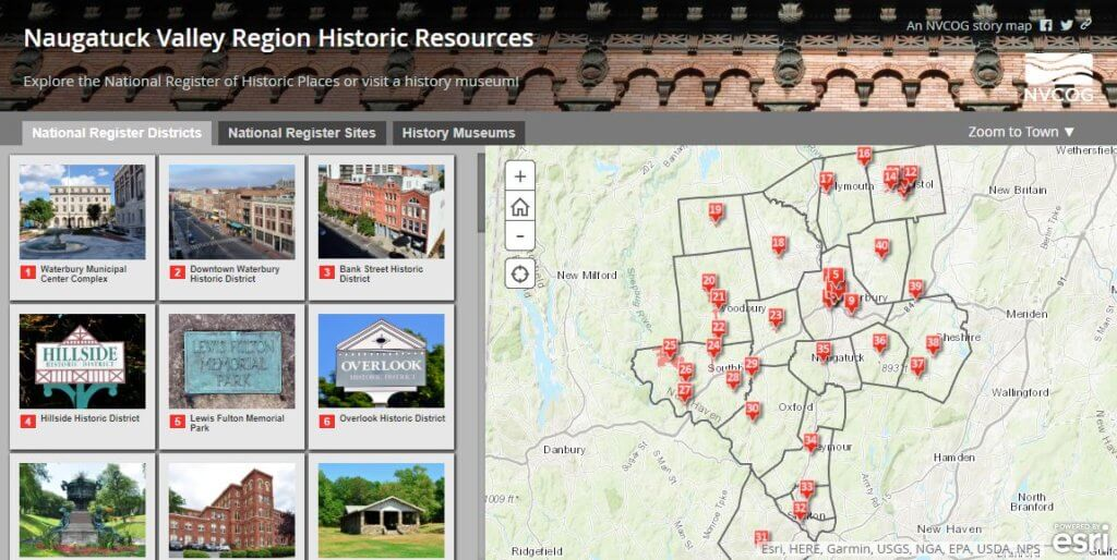 interactive map of location of historic resources