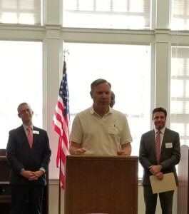 First Selectman Christopher Bielik speaking at the kickoff event.