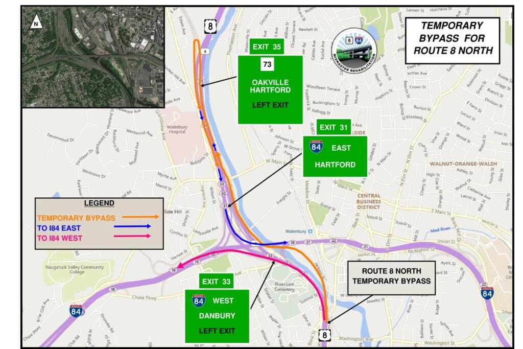 Route 8 and Interstate 84 detour map