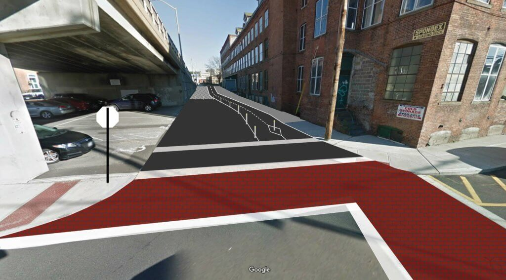 Rendering of proposed cycle path down southeast ramp