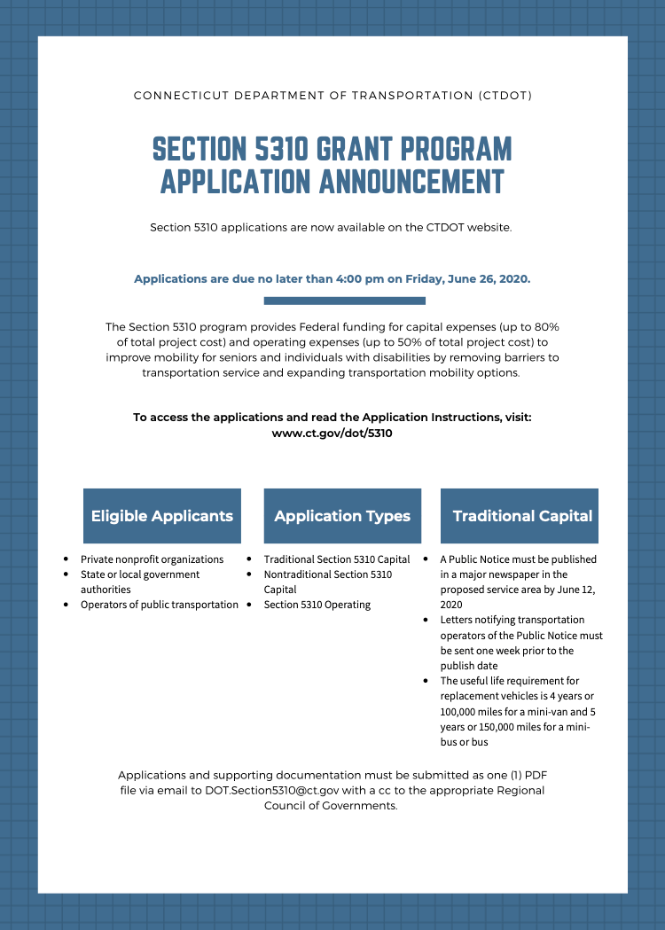 CTDOT Ection 5310 Grant Program Application Announcement flyer